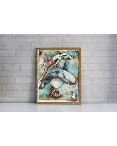 Aria Carelli, Volo sott'acqua, acquerello e inchiostro su carta, 30x40 cm