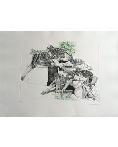 Walter Cremonini, Mitologia Contemporanea, acquaforte a colori, 50x70 cm, 88 su 100