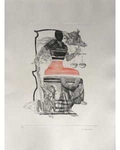 Walter Cremonini, Mitologia Contemporanea, acquaforte a colori, 50x70 cm, P.A.