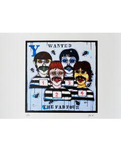 Yux, Wanted the Fab Four, retouchè, 46x32 cm