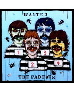 Yux, Wanted the Fab Four, acrilico pastelli a cera, smalto e manifesti su tela, 100x100 cm