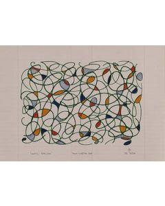 Bruno Budassi (Del Buda), Vortici stellari, pennarello su carta a righe, 42x30 cm, prova d'artista.