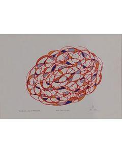 Bruno Budassi (Del Buda), Masse stellari in formazione, pennarello su cartoncino, 45x32 cm.