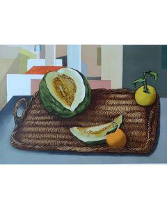 Renato Guttuso, Natura morta con melone, serigrafia 50x70cm, XII/L