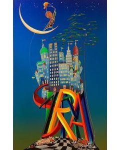 Meloniski da Villacidro, Piccola città, tecnica mista su tela, 50x80 cm, 2011