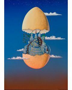 Meloniski da Villacidro, Nasce la mia città cosmica, tecnica mista su tela, 50x70 cm, 2015