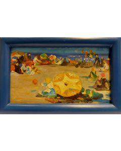 Scuola Francese, Sulla spiaggia, Olio su tavola, 14,5x22,5 cm