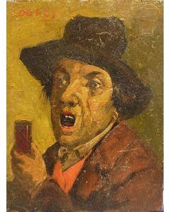 Scuola Francese: Joanes, Ritratto d'uomo, Olio su tavola, 14,5x11,5 cm