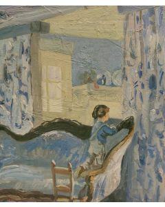 Scuola Francese, Sguardo dalla finestra, olio su tavola, 20,5x18 cm