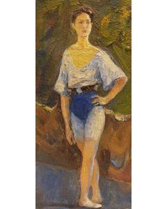 Scuola Francese, Ballerina, olio su tavola, 17x08 cm