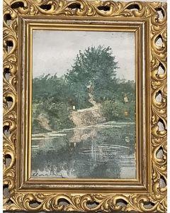 Carlo Achille Cavalieri, Lungo il fiume, olio su tavola, 19,5x25 cm (con cornice)