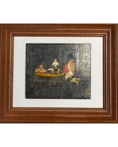 Scuola Caravaggesca, Lettura serale, Olio su tavola, 33x39 cm (con cornice)