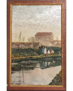 Carlo Achille Cavalieri, Passeggiando sul Naviglio, olio su tavola, 35,5x23,5 cm (con cornice)