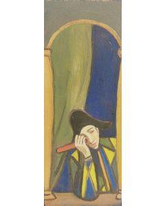 Anonimo, Teatrante, olio su tavola, 21x08 cm