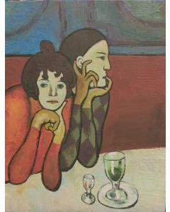 Scuola Espressionista, Assenzio, Olio su tavola, 22x17 cm