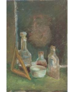 Anonimo, Bottiglie, olio su tavola, 31x21 cm