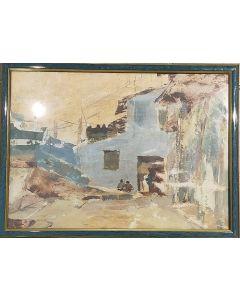 Anonimo, Sulla soglia di casa, acquerello su carta, 27x36,5 cm (con cornice)
