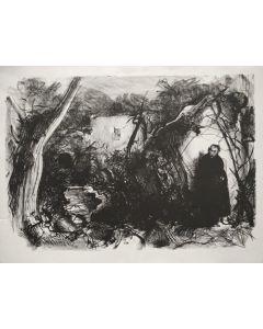 Pietro Annigoni, Viandante con mantello, litografia, 77x 57 cm, 87/99