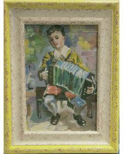 Espressionismo tedesco, Suonatore di fisarmonica, olio e tempera su tavola, 23,5x18,5 cm (con cornice)