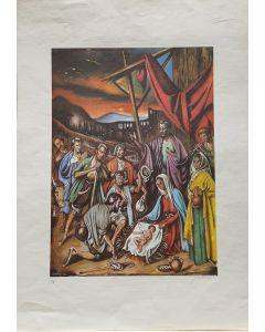 Gregorio Sciltian, Natività, litografia, 70x50 cm