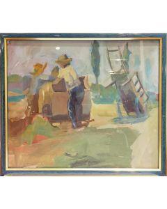 Anonimo, Contadini, tempera su carta, 27,5x32 cm (con cornice)
