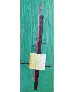 Anonimo, Astratto, Olio su tavola, 6,3x17,2 cm