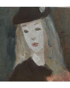 Scuola Francese, Ritratto di fanciulla, Tempera su tavola, 9,8x10,2 cm