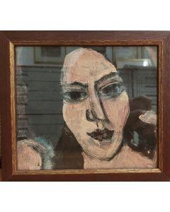 Scuola Cubista, Ritratto di donna, tempera su carta, 21x23,5  cm (con cornice)