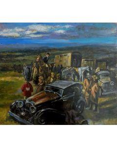 Scuola Francese, In viaggio, Olio su tavola, 18x20,5 cm