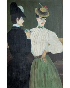 Anonimo, Borghesi, Olio su tavola, 28,5x19 cm
