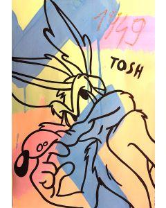 Andrew Tosh, Senza Titolo, acrilico e smalto su carta, 48x33 cm