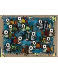 Yux, Ovest 21 sud, acrilico, pastelli a cera, smalto e manifesti su tela, 100 x 75 cm