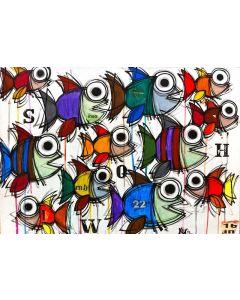 Yux, Show, acrilico, pastelli a cera e manifesti su tela, 70x50 cm