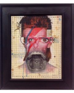Enrico Pambianchi, Ziggy, collage, olio, acrilico, matite, gessetti e resine su tavola, 50x40 cm