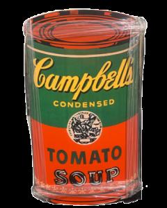 Zuppa Campbell's (sfondo rosso), stampa su tavola di legno, 51x87 cm