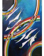 Filippo Scimeca, Voli nello spazio, olio e acrilico su tela, 50x70 cm, 1982