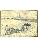 Camille Pissarro, Le laboureur, xilografia, 12x17 cm