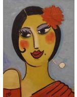 Anna Àntola, Carmen, olio su tavola, 29x39 cm