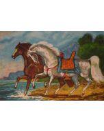 Giovan Francesco Gonzaga, Corsieri sulla battigia, acquaforte a colori, 60x80 cm