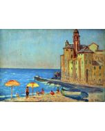 Giovanni Malesci, Camogli, olio su tavola, 49x34 cm, 1951