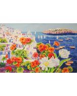 Athos Faccincani, Colore arancio nella luce di Santorini, serigrafia a 36 passaggi di colore, 84x54 cm