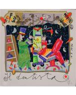 Francesco Musante, Il Dentista, serigrafia polimaterica a 36 colori su carta bianca, 20x20 cm