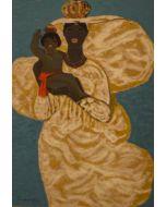 Salvatore Fiume, Madonna nera con bambino, serigrafia polimaterica d'aprés a 32 colori su broccato, 70x50 cm