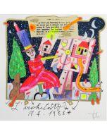 Francesco Musante, L'architetto, serigrafia polimaterica a 36 colori su carta bianca, 20x20 cm
