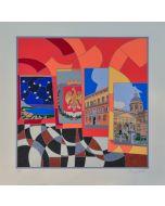 Ugo Nespolo, Palermo, serigrafia, 70x70 cm