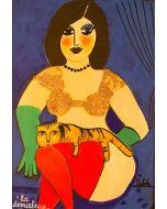 Anna Àntola, La domatrice, tecnica mista su carta, 50x35 cm