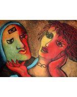 Enrico Baj, L'abbraccio, acquaforte e acquatinta, 70x100 cm