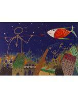 Meloniski da Villacidro, Soccorso e Opposizione, serigrafia e collage ritoccata a mano, 56x75 cm, 1995