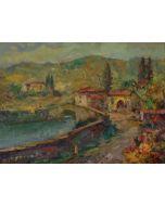 Antonio Sbrana, Antica cascina, olio su tavola, 29x39 cm