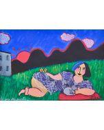 Anna Àntola, La casa dei monti, tecnica mista su carta, 50x35 cm